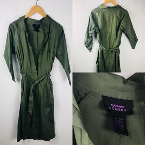 Suzanne Somers Olive Green Tie-waist Shirtdress 6